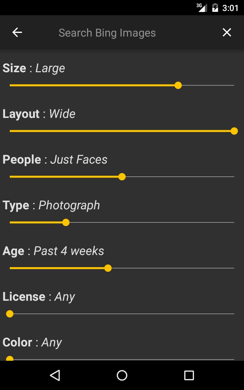 The various configuration options of the Bing Images service.